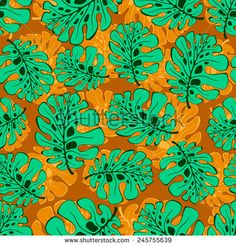 Seamless pattern with leaves and flowers. - stock vector