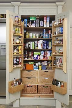 48 Kitchen Pantry Ideas with Form and Function - GODIYGO.COM Kitchen pantry ideas with form and function 12 Kitchen Larder Cupboard, Larder Unit, Kitchen Pantry Design, Kitchen Organization Pantry, Kitchen Storage, Pantry Ideas, Kitchen Pantries, Storage Baskets, Storage Racks