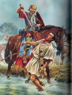 Roman Empire Army - Battle of the Teutoburg Forest, Arminius' auxiliary cavalry betraying the Romans Roman History, Art History, Military Art, Military History, Ancient Rome, Ancient History, Roman Armor, Rome Antique, Roman Warriors