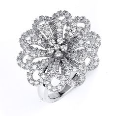 Sterling Silver Rhodium Plated & CZ Flower Ring