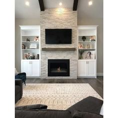 Fireplace Built Ins, Home Fireplace, Living Room With Fireplace, Fireplace Ideas, Stone Fireplace Makeover, Stacked Stone Fireplaces, Modern Stone Fireplace, Basement Fireplace, Tv Over Fireplace