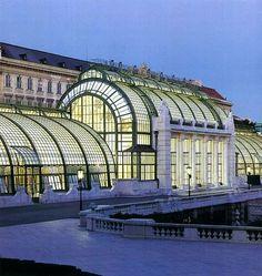 Grosse Orangerie, Vienna, Austria built in 1744 by Pacassi. Interesting Buildings, Beautiful Buildings, Glass Building, Building Images, Eden Project, Butterfly House, Heart Of Europe, Art Nouveau Architecture, Building Structure