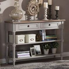 Shabby Chic | Farmhouse Shabby Chic | 2 Drawer Console Table | Entryway  Table |