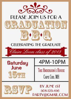 Graduation BBQ Custom DIGITAL Invitation. Can match school colors on Etsy, $8.50