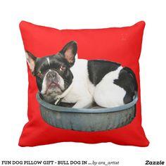 FUN DOG PILLOW GIFT - BULL DOG IN TUB