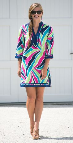Every preppy closet needs a classic tunic dress. The bright colors and relaxed fit make this one extra special!