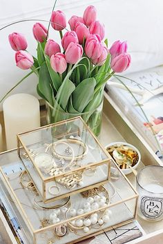Savor Home, beautiful boxes for jewelry and tray, this would be so pretty on a chest in the bedroom, of course, the flowers make it!