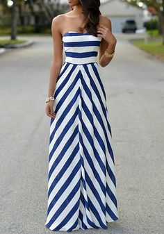 Blue Striped Print Bandeau Backless Boat Neck Fashion Maxi Dress