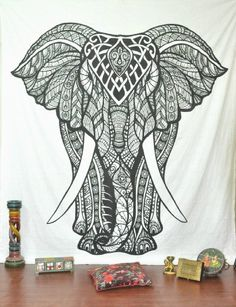 Handicrunch Indian Elephant Tapestry, Hippie Tapestries, Tapestry Wall Hanging, Indian Black & White Tapestry , Bohemian Dorm Decor Mandala Tapestries, Pyshedlic Tapestry