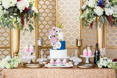 Rouged lips, deep blue tuxedos and charming gold fabrics to bring about the glitz and glamour of old world charm for this vintage meets modern glam wedding. Sweet Table Wedding, Wedding Sweets, Wedding Cupcakes, Elegant Wedding, Metallic Wedding Cakes, Wedding Cakes With Flowers, Wedding Cake Inspiration, Wedding Cake Designs, Wedding Styles