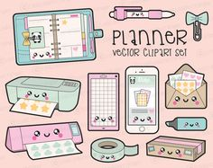 Premium Vector Clipart - Kawaii Planning Clipart - Kawaii Planner Clip Art Set - High Quality Vectors - Planner Supplies Kawaii Clipart