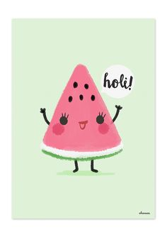"Illustrationen – Illustration Wassermelone, Serie ""Holi Fruit"" – ein Designerst… Illustrations – Illustration Watermelon, series ""Holi Fruit"" – a designer piece by Sylloves on DaWanda Diy Kawaii, Kawaii Cute, Summer Wallpaper, Iphone Wallpaper, Cute Images, Cute Pictures, Evvi Art, Holi, Fruit Illustration"