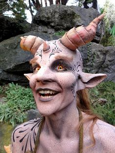 Fantasy With Horns Bodypainting & Makeup Prosthetic Makeup, Sfx Makeup, Costume Makeup, Forest Creatures, Fantasy Creatures, Mythical Creatures, Special Makeup, Special Effects Makeup, Ideas Maquillaje Carnaval