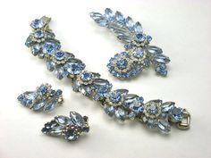 Vintage Juliana D Blue Rhinestone Bracelet,Brooch & Earrings ... available in our shop on Ruby Lane