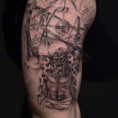 New travel tattoo leg sleeve 19 ideas Boy Tattoos, Tattoos For Guys, Tatoos, Daggar Tattoo, Arm Tattoo, Sleeve Tattoos, Greek God Tattoo, Atlas Tattoo, Heaven Tattoos