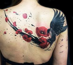 Abstract black and red tattoo of Birds by artist Ivan Trapiani