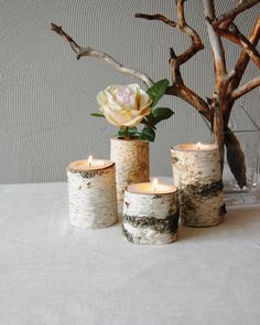 Tree Branch Candleholders Set Of Wooden Tealight Holders, Rustic Home Decor, Wood Candles, Birch Branches Candle Holders, Hygge Chandeliers, Rustic Decor, Farmhouse Decor, Rustic Theme, Birch Branches, Decoration Christmas, Easter Decor, Rustic Candle Holders, Creative Decor