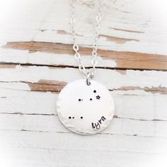 Hand Stamped Hammered aluminum Lyra constellation necklace the harp... ($21) ❤ liked on Polyvore featuring jewelry and necklaces