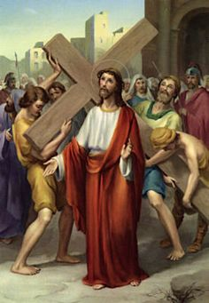 Second Station: Jesus carries His cross:  Jesus, as you accepted your cross, you knew you would carry it to your death on Calvary. You knew it wouldn't be easy, but you accepted it and carried it just the same.