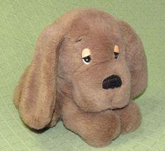 """Vintage HOUND DOG Walmart Brown Puppy Plush KOREA 10"""" Sleepy Eyes Suede Nose Toy #Walmart"""