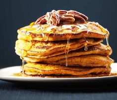 Pumpkin Quinoa Pancakes  These are delicious and freeze well, just pop in the toaster when you want to eat.  Replace buttermilk with coconut milk and Brown sugar with maple syrup for Gluten and Dairy free