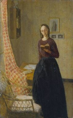 A Lady Reading (1909-11).  Gwendolen Mary John (Welsh, 1876-1939). Oil on canvas. Gwen John said that she had tried to make the head of this woman look like a painting of the Virgin Mary by Albrecht Dürer, suggesting a link with traditional images of the Annunciation. John worked in France for most of her career. She is noted for her still lifes and for her portraits, especially of anonymous female sitters. John was an artist's model for (and later the lover of) the sculptor Auguste Rodin.