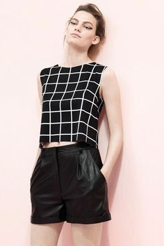 Love the leather paired with black and white grid!