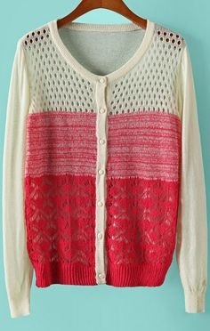 Red Long Sleeve Floral Crochet Hollow Sweater 21.67