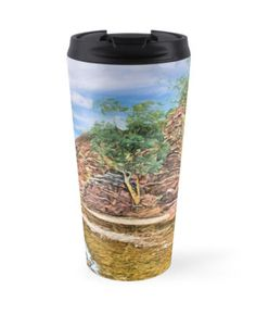 Rocks at Brachina Gorge, Flinders Ranges, Sth Australia Travel Mug by Terrella.  A painting of a section of Brachina Gorge, South Australia, rock formations from the Cambrian era. The landscape is approximately 540 million years old.  Approx 480km (298 miles) north of Adelaide, SA. • Also buy this artwork on home decor, apparel, phone cases, and more.
