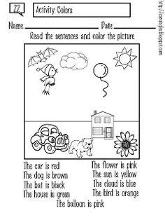 Ficha creada para reforzar el aprendizaje de los colores.