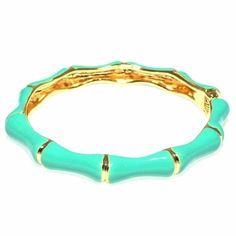 Bamboo Enamel Hinged Bracelet - Turquoise
