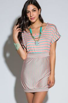Mint/pink striped cut out back summer mini dress