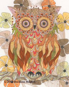 Whimsical Owl Painting Illustration Archival by breanneholden, $33.00