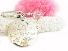 Pom Pom Keychain, Rabbit Fur Keychain, Fluffy Keychain, Quote Keychain, Fur Pom Pom,
