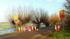 Whittlesey 2014 - High water levels on the River Nene prompt the closure of a second road in Cambridgeshire.