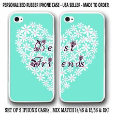 NEW TIFFANY MINT PINK FLORAL HEART BFF Best Friends Case For iPhone 7 6S 6 SE 5S #UnbrandedGeneric