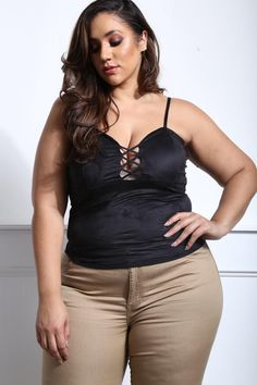 Bey's not the only one who's feeling herself. Flaunt the curves you were given in our plus size criss cross camisole. You won't be able to keep your hands off this micro-fiber feel!