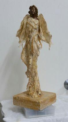 Golden angel, made using powertex and paper decortation