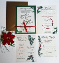 Completely Custom Wedding Invitation Designs Let by ThePaperVow Christmas Wedding Invitation set, green watercolor holly with red berries, red satin twine with real pine used as embellishment. Wine ring. 'Tis the season to be married!