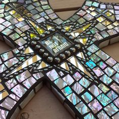 """Large mosaic cross with """"Be Not Afraid"""" art and hematite beads, iridized stained glass and mirror by SacredArtwork on Etsy"""