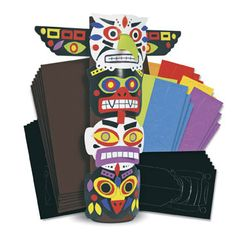 Roylco Roylco Totem Pole Craft Kit Made with the Best Quality Material with your child in mind. American Indian Art, Native American Art, Totem Pole Craft, Hawaii Crafts, Native American Projects, Doodle, Pole Art, Inca, Preschool Art