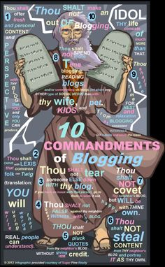 The Ten Commandments For Blogging! May help you start you're blog and keep it up to date.