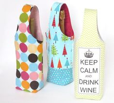 No Bias Tape Simple Wine Tote - these would make great gift bags