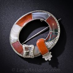 Scottish Silver and Agate Garter Brooch $925.00