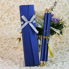 SC006---royal blue scroll wedding invitations