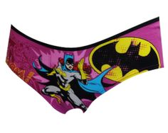 DC Comics Batgirl Whoom! Purple Bikini Panty Watch out evil-doers! Batgirl is on the loose and ready for a fight. This panty features the glamorous Batgirl and her logo in bright colors. Black trim details on the waist are a nice touch. These soft, premium fabric panties are machine washable and easy to care for. Totally awesome! Standard woman's cut (not Juniors).