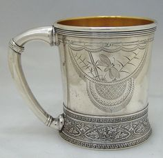 Gorham sterling silver aesthetic period child's cup with butterfly and bird, c1878 (Berry & Co)