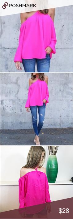 NEW Off Shoulder Halter Front Hot Pink Top NEW Off Shoulder Halter Front Hot Pink Top. Lightweight flowy top. One Size fits most. Medium to XL. Bust measures 21 inches laying flat not doubled and is 25 inches long. New in package. Tops Blouses