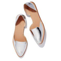 sweet and stylish silver metallic pointy toe flats by Loeffler Randall