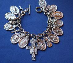 Religious Saint Medal Charm Bracelet (0114b) St Michael San Damiano Cross Religious Bracelet